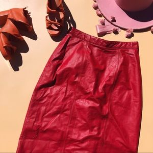 Vtg 80s Red Leather High Waisted Pencil Skirt SM